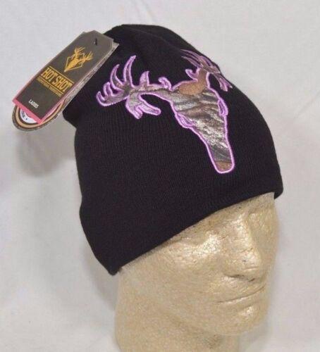 Hot Shot Realtree Xtra Como Logo Black Women/'s Acrylic Knit Beanie Cap Ladies