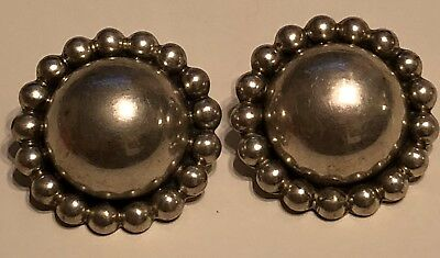 Circa 1990 Vintage Vintage Sterling Silver Stud Clips Stamped Mexico 925