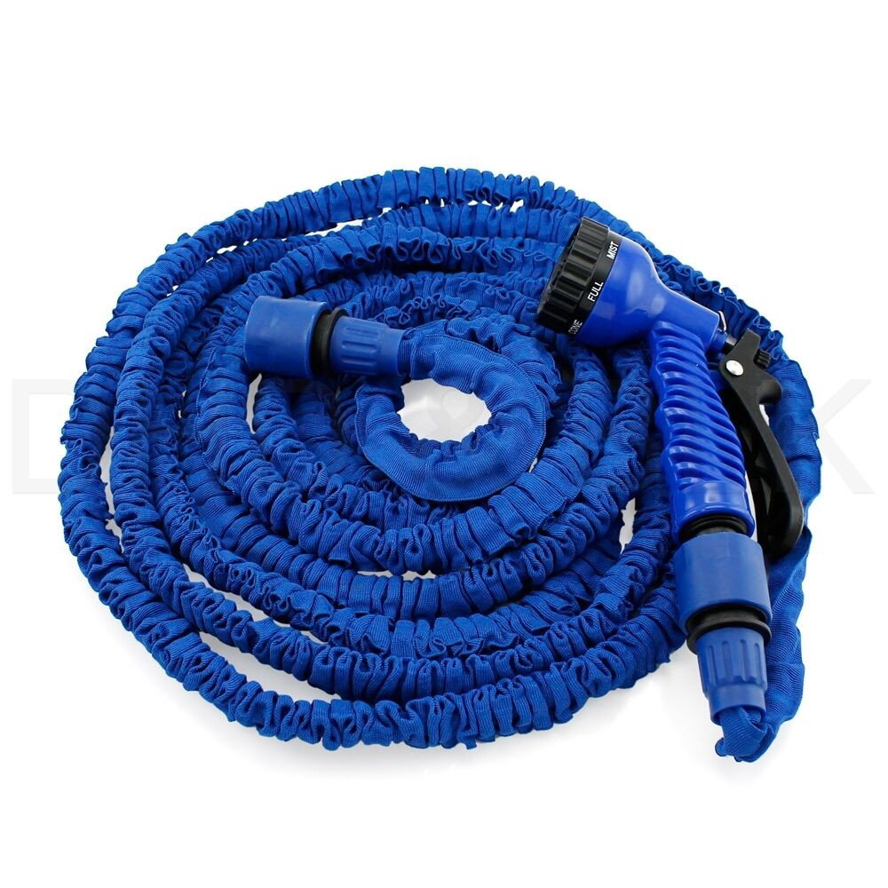 25 50 75 100 feet deluxe expandable flexible garden water hose w spray nozzle Expandable garden hose 100 ft