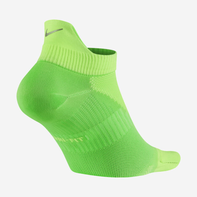 first look new lifestyle for whole family NIKE ELITE Lightweight No-Show Tab Running Socks SX4952-380 (6-7.5) Volt  Green