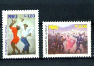 Peru-1995-Volkstaenze-Tanz-Festejo-Nationaltanz-Trachten-Nr-1562-63