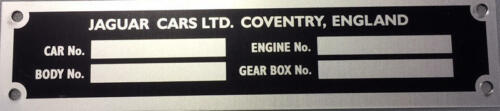 COVENTRY JCP3 JAGUAR E-TYPE /& XJ SER 1 CHASSIS PLATE