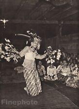 1940 BORNEO Kenyah FEMALE DANCER Hornbill Feather Costume Dance Photo K.F. WONG