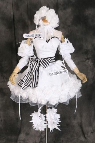 H-3316 Black Butler Ciel DOLL Circus ROSE CAPPELLO COSPLAY VESTITO COSTUME SET BIANCO