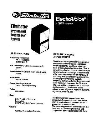 Electro-Voice Ev Eliminator Lautsprecher Pläne