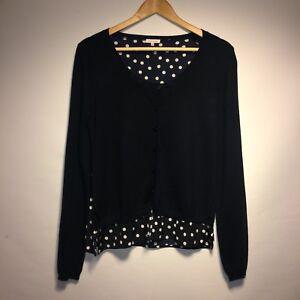 Cardigan lavorata M maglia lana s maniche punteggiato o lunghe Taglia nero a a in a r P h Charming 4AzqnY1x