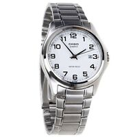 Casio MTP1183A-7B Mens Stainless Steel Analog Dress Watch White Dial NEW