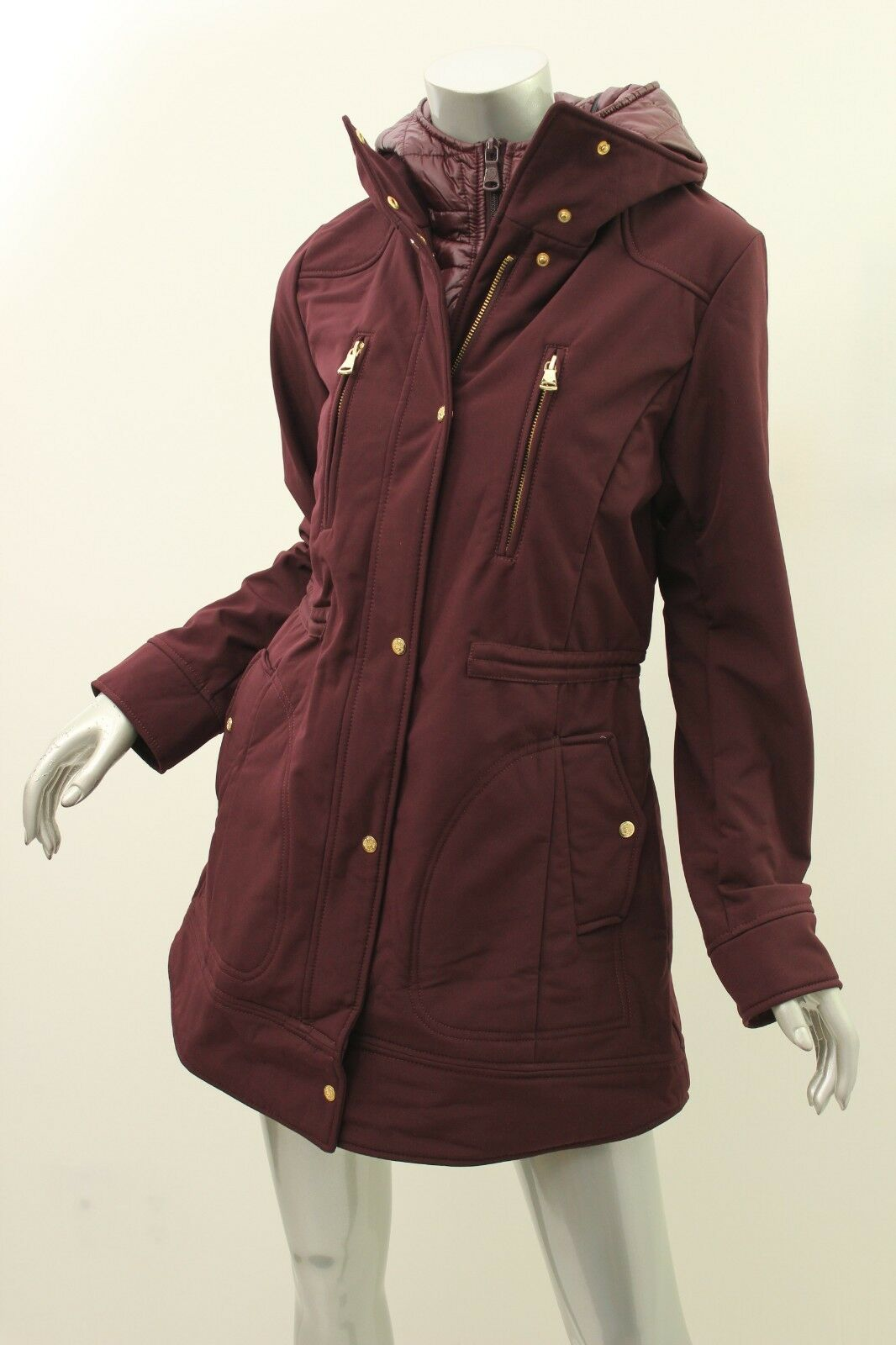 VINCE CAMUTO Burgundy Hooded Quilted Adjustable Coat PS