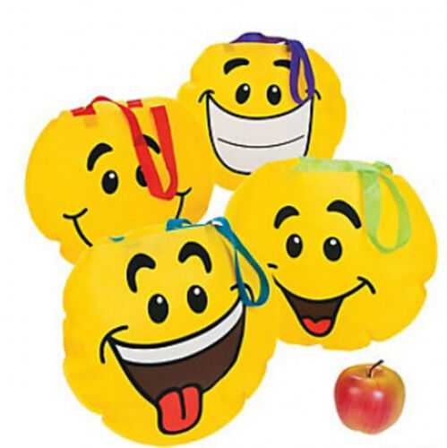 EMOJI PARTY Smiley Face Tote Bag Emoticon Faces Gift Bags Pack of 4 Free Postage