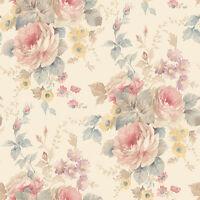 Rg35726 - Rose Garden Roses Beige Blue Pink Galerie Wallpaper