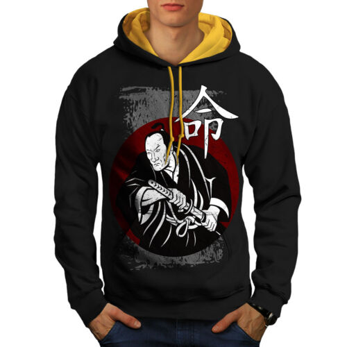 gold New Men Look Samurai Hood Contrast Black Fierce Hoodie ZC0FqWwU
