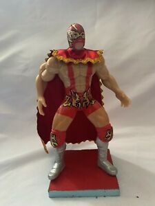 BLACK MAN  Wrestler 7 in ActionFigure Mexican ToysHANDMADE PAINTED