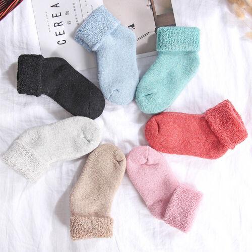 3 Pairs Boys Girls Kids Winter Thicken Warm Soft Wool Socks Thermal Casual Socks