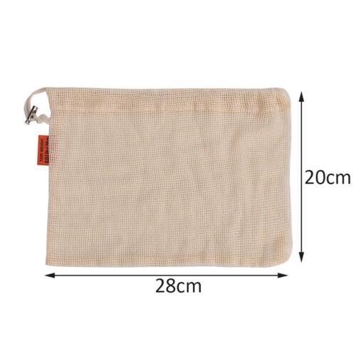 Storage Bags Reusable Drawstring Washable Mesh Cotton Machine Shopping Bags Lot