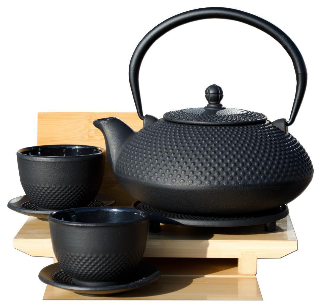 Dessous de plat Tasses & Arare Tetsubin style japonais en fonte noir cloutés Théière 1.1 L