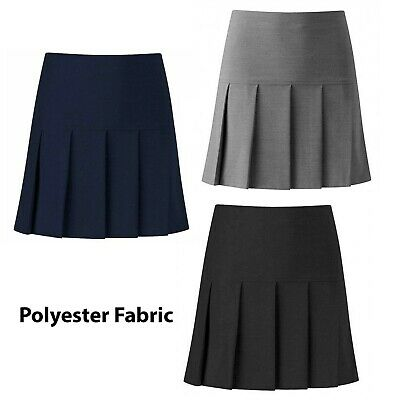 Girls Three Pleat School Skirts Half Elasticated Waist Girls Side Pleat Skirts