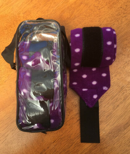 PURPLE WITH PINK DOTS FLEECE BANDAGES REGULAR SIZE