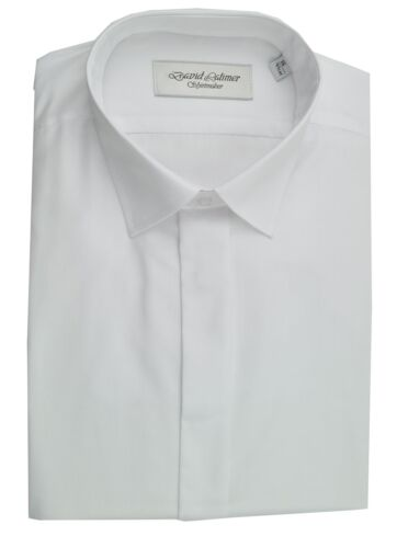 David Latimer Mens Fly Front With Standard Collar Dress Shirt in White