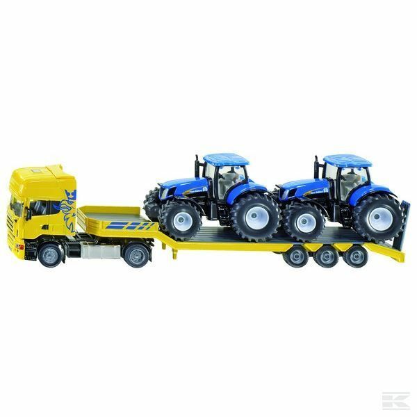 Scania Low Loader With 2 New Holland Tractors 1 50 Scale Model Toy Gift