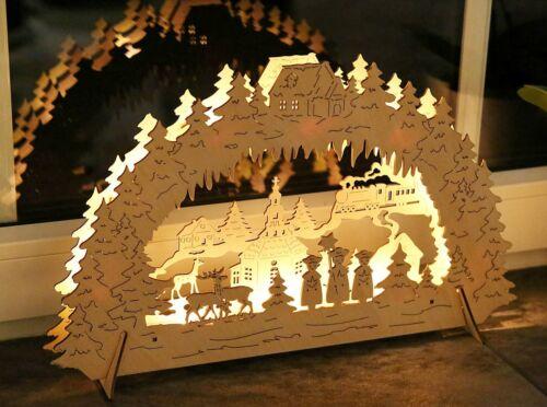 Dorf mit Kirche LED Kurrendesänger 3D Bild Holz Weihnachtsbogen Schwibbogen