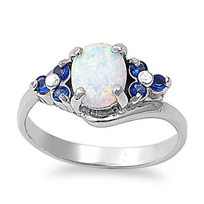 .925 Sterling Silver Oval Cut White Opal & Simulated Sapphire Promise Ring NEW