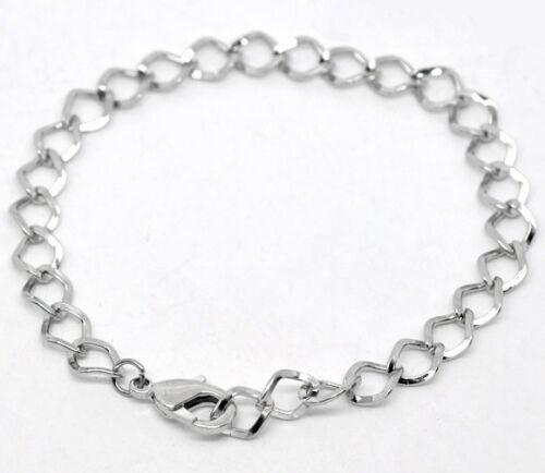 Wholesale Lots Silver Tone Lobster Clasp Link Chain Bracelets 20cm