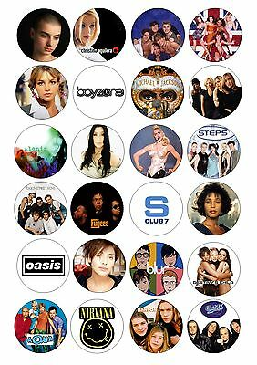 24 90's Pop Music Bands Singers Wafer / Rice Cupcake Topper Fairy Cake Toppers