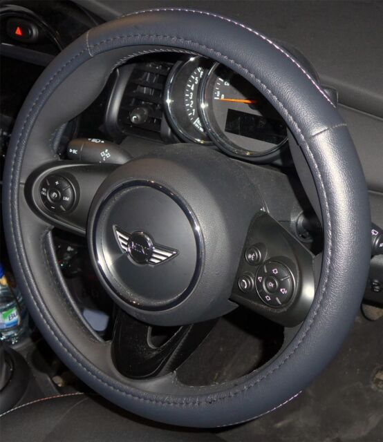 MINI ONE STEERING WHEEL COVER ALL BLACK SOFT LEATHER LOOK