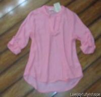 Pink Rose Size S Blush Pink Button Tab High-low Blouse Shirt