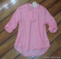 Pink Rose Size S Blush Pink Button Tab High-low Blouse Shirt