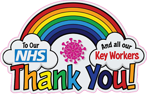 Wall Rainbow Window Car Sticker Thank You NHS And Key Workers Charity Decal