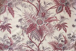 Details About French Printed Large Scale Indienne Fabric Upholstery Material C 1890 Antique