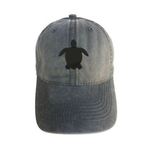 Sea Turtle Silhouette Embroidered Baseball Cap Hat Adjustable Strap Vacation New