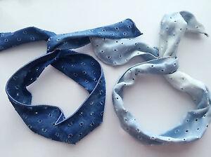 Women-Girl-Retro-70-039-80-039-Ripped-Blue-Denim-wire-Bow-bunny-hair-wrap-tie-headband