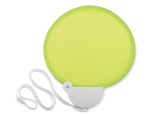 Ventilador de mano plegable con cordón-Poliester material giro en la manija para almacenamiento de información