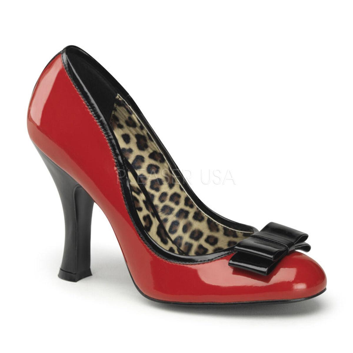 Pleaser SMITTEN 01 hoher PIN UP Kontur 10.2cm hoher 01 Absatz Patent Cheetah Schuhe 55f7f7
