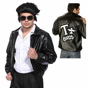Image is loading Halloween-Mens-Black-Leather-Jacket-50s-Rockabilly-T-  sc 1 st  eBay & Halloween Mens Black Leather Jacket 50s Rockabilly Tu0027Bird Grease ...