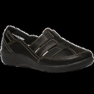 Women/'s Clarks SILLIAN STORK Black Slip On Shoes