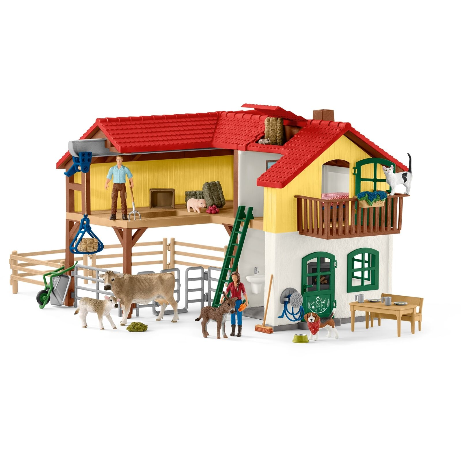 Schleich Farm World Bauernhaus mit Stall und Tieren, Spielfigur
