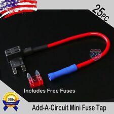 25pc 16 Gauge Copper Add-A-Circuit Mini APM ATM Blade Piggy Back Fuse + 1A - 40A