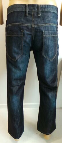 Mens Jeans Waist Size 30-42 By Jean Team Relaxed Loose Fit Dark Denim Trousers