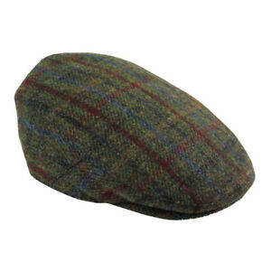 Image is loading Harris-Tweed-Cap-Breanais-Green-Various-Sizes 4314acfe4cd