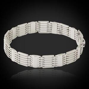 18K-Gold-or-Platinum-Plated-Chunky-Link-Bracelet-Bangle-GIFT-New-Online