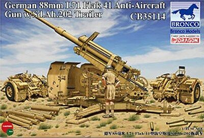 Bronco 1/35 CB35114 88mm L71 FlaK 41 Anti-Aircraft Gun w/Sd.Ah.202 Trailer