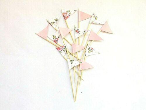Motif Floral Rose Cupcake Toppers Gâteau Drapeaux Embellissements Cuisson Décorations de fête