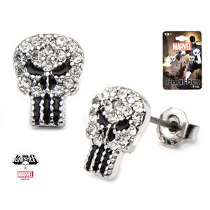 Inox-Women-039-S-Stainless-Steel-Punisher-Skull-Cubic-Zirconia-Marvel-Stud-Earrings