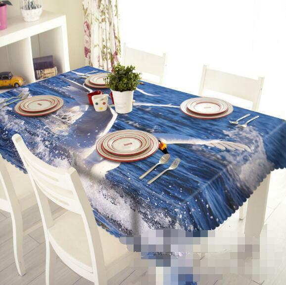 3D Sea Swans 215 Tablecloth Table Cover Cloth Birthday Party Event AJ WALLPAPER