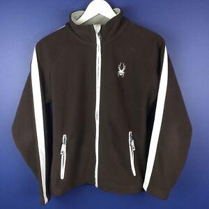 Spyder Girls Youth Fleece Zip Jacket Chocolate Brown White Size L 14-16