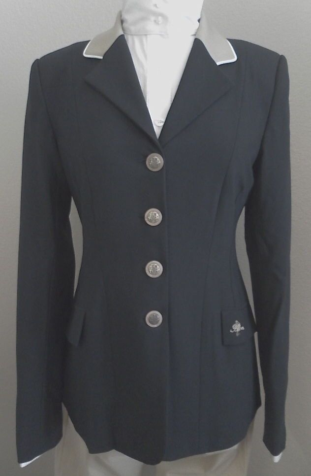 Ladie's Hunt Coat by Allon Navy w Tan Collar & Weiß Piping Accent Größe 12