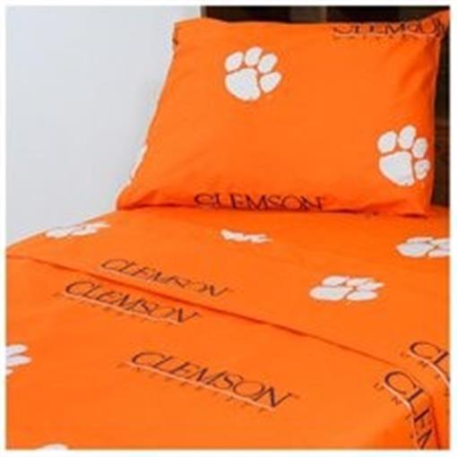 Comfy Feet CLESSTX Clemson Printed Sheet Set Twin XL - Solid